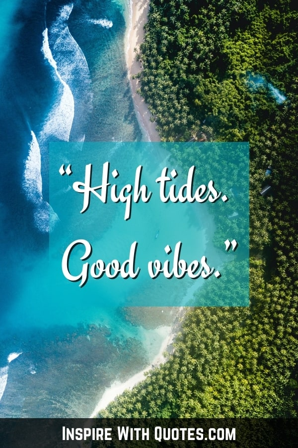 """aerial photo of the beach with quote """"high tides. good vibes"""""""
