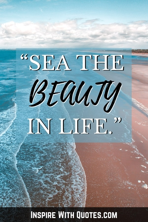 """aerial photo of the beach with quote """"sea the beauty in life"""""""