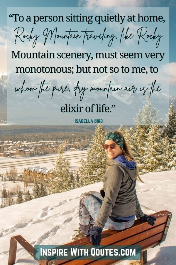 lady sitting on a bench in Canmore, Alberta with quote about enjoying the Rocky Mountains